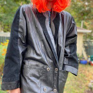 Vintage leather and suede 80's leather trench Coat